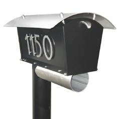 houseArt DaVinci mailbox - satin black and bright silver combo